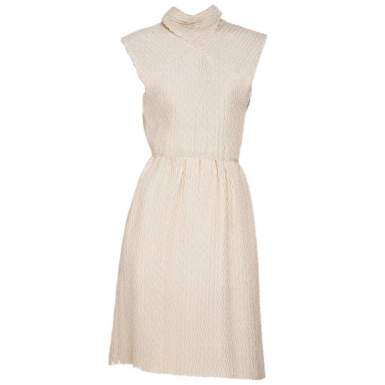 Christian Dior  Couture 1965 Ivory silk cloche day dress 1