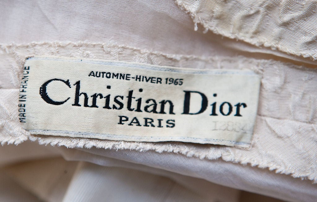 Christian dior couture 1965 ivory silk cloche day dress at for Couture labels