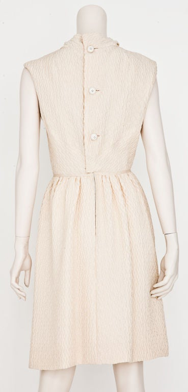 Christian Dior  Couture 1965 Ivory silk cloche day dress 2