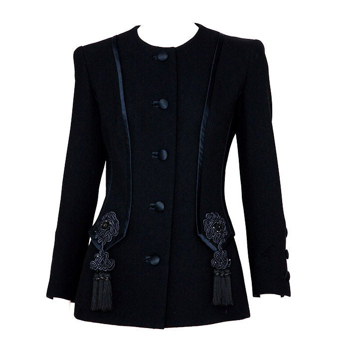 YSL Couture wool jacket with passementerie embellishment For Sale