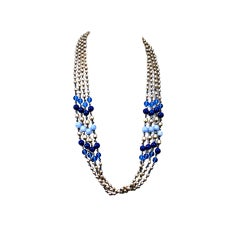 Miriam Haskell Pearl and Blue Glass Multistrand Necklace