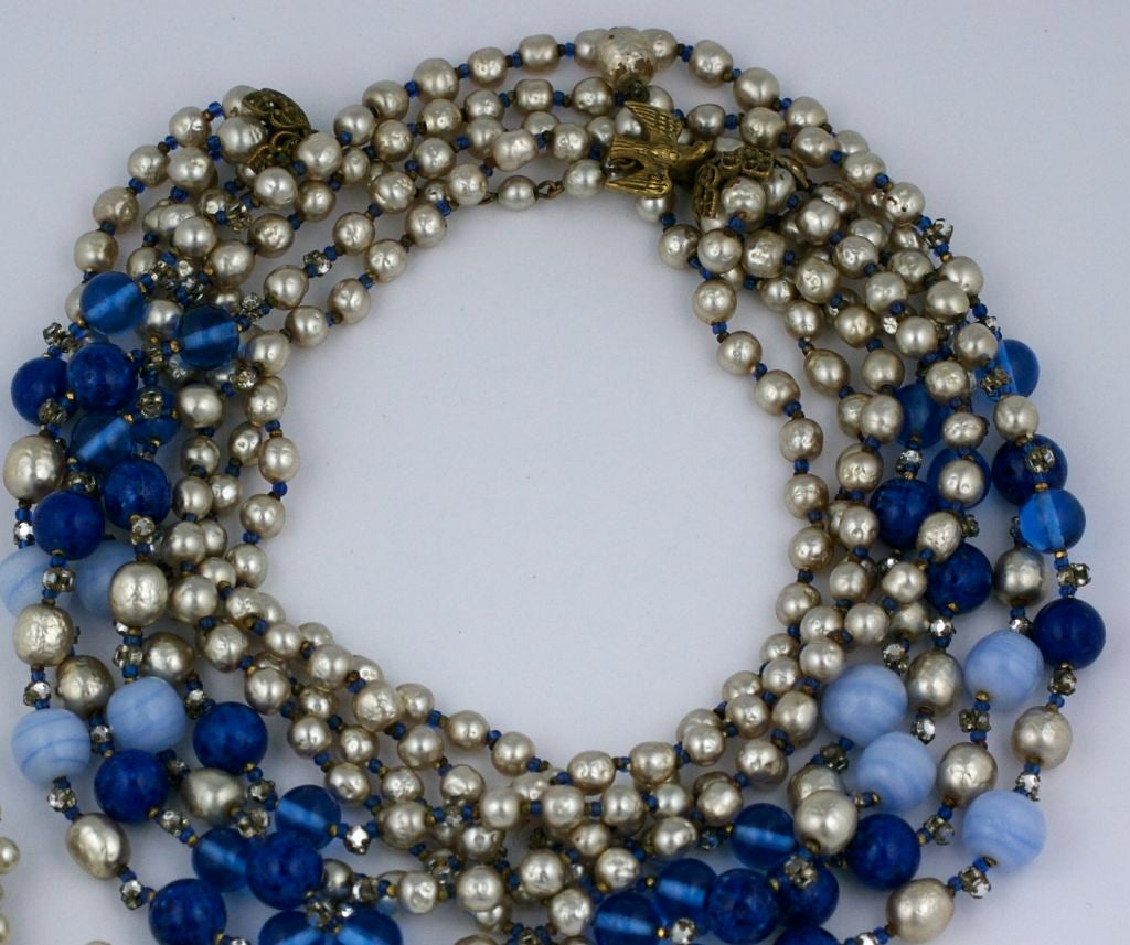 haskel jewelry miriam haskell pearl and blue glass multistrand necklace 7767