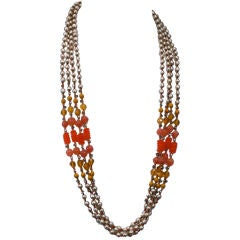 Miriam Haskell Pearl and Orange Glass Multistrand Necklace
