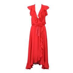 Adele Simpson Flounced Crepe Wrap Dress