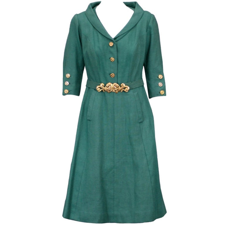 Chanel haute couture green linen afternoon dress for sale for Where to buy haute couture dresses