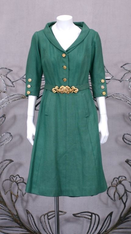 Chanel Haute Couture Green Linen Afternoon Dress 7
