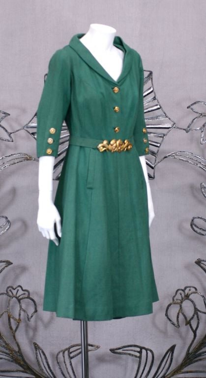 Chanel Haute Couture Green Linen Afternoon Dress 2
