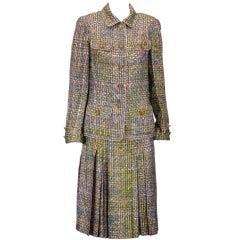Chanel Haute Couture Silk Trompe l'oiel Tweed Suit