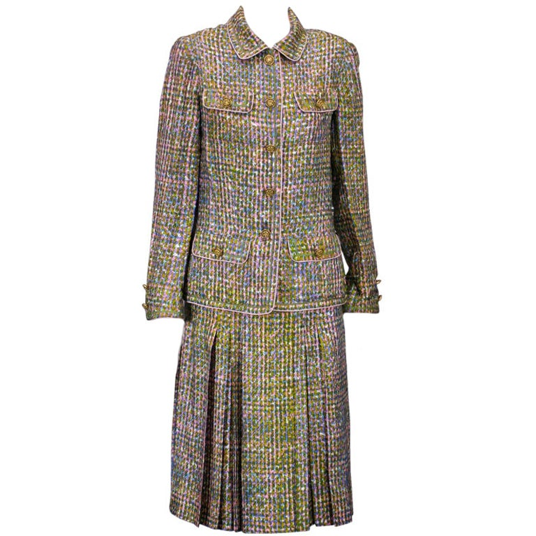 Chanel haute couture silk trompe l 39 oiel tweed suit for for Haute couture suits