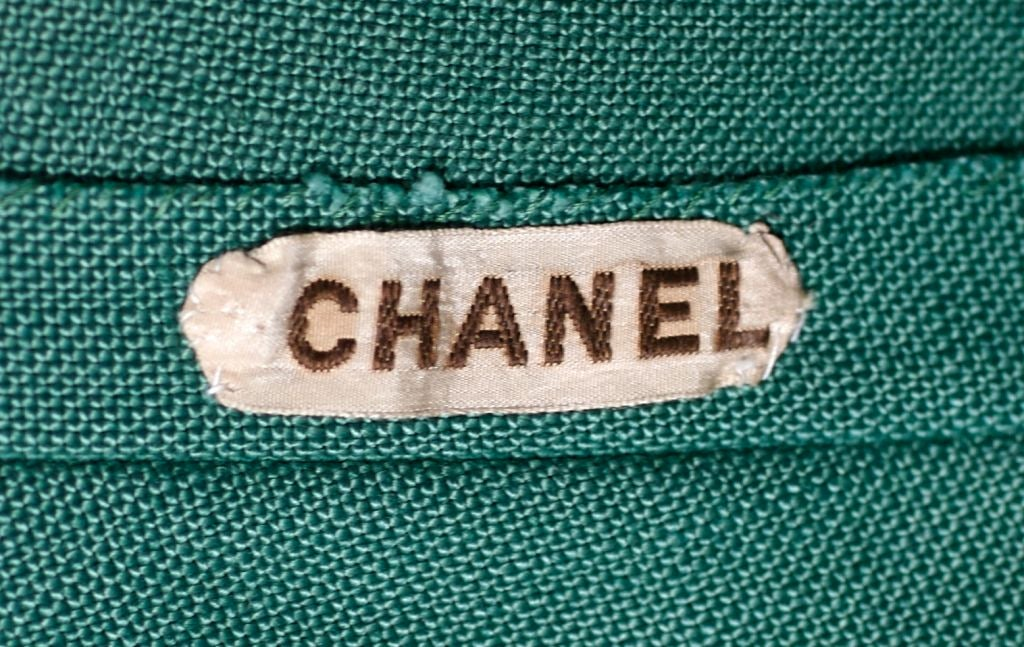 Chanel Haute Couture Green Linen Afternoon Dress 6