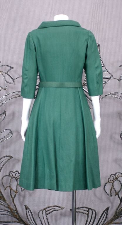 Chanel Haute Couture Green Linen Afternoon Dress At 1stdibs