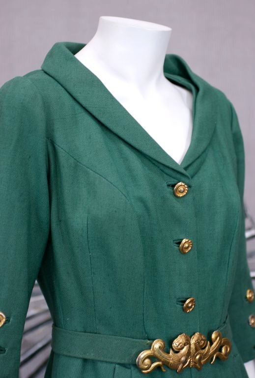 Chanel Haute Couture Green Linen Afternoon Dress 5