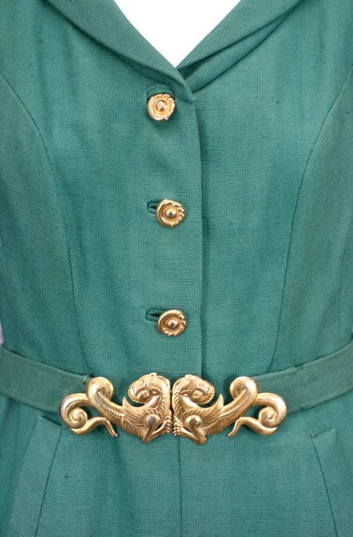 Chanel Haute Couture Green Linen Afternoon Dress 4