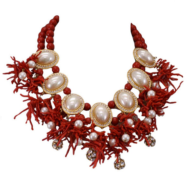 Valentino Branch Coral and Faux Pearl Cabochon Necklace 1