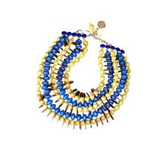 YSL African Style Gold Coin and Wood Bead Bib Necklace