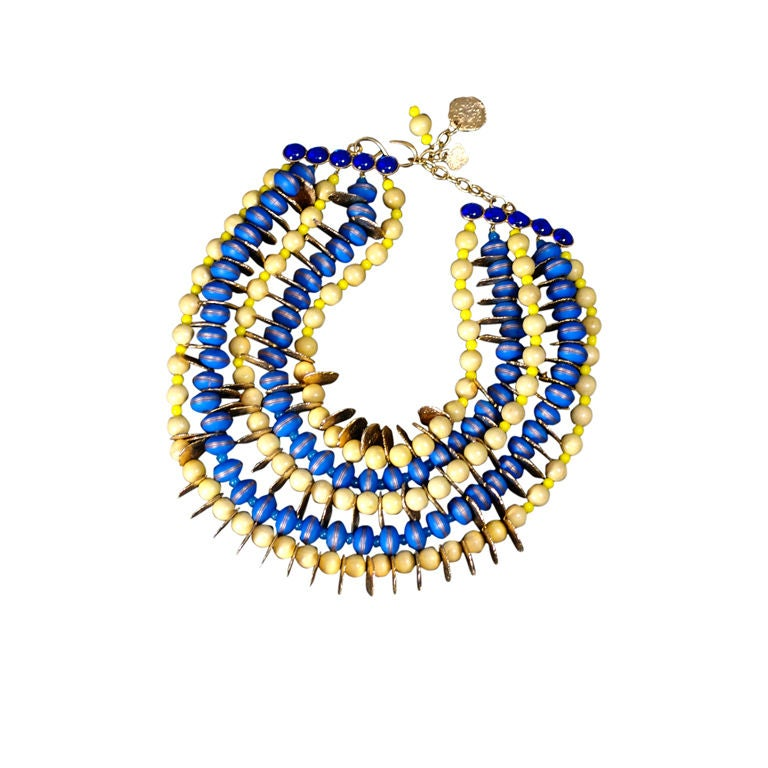 YSL African Style Gold Coin and Wood Bead Bib Necklace For Sale