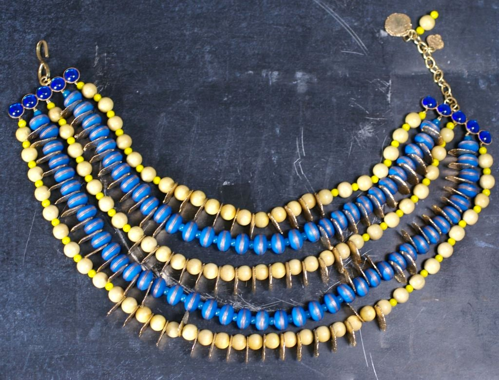 YSL African Style Gold Coin and Wood Bead Bib Necklace In Excellent Condition For Sale In Riverdale, NY