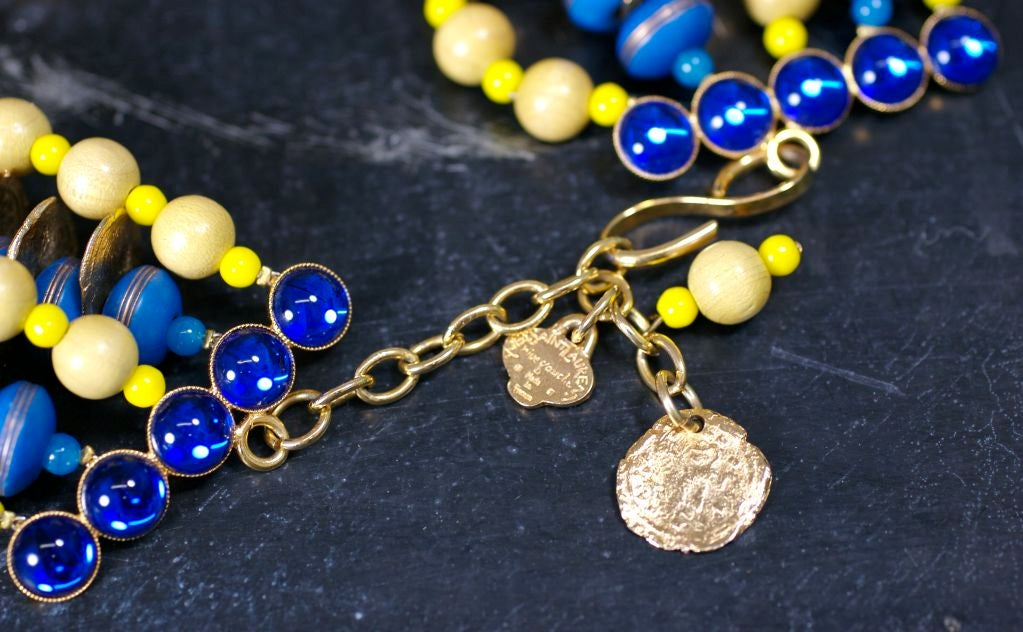 Women's YSL African Style Gold Coin and Wood Bead Bib Necklace For Sale