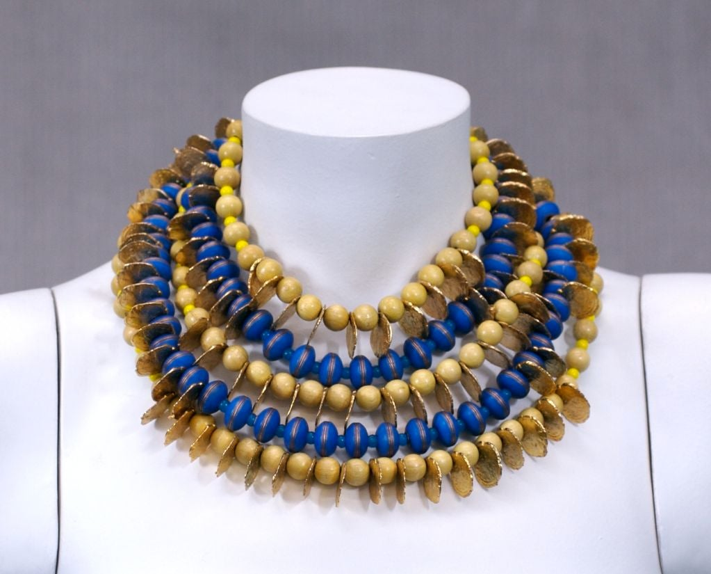 YSL African Style Gold Coin and Wood Bead Bib Necklace For Sale 3