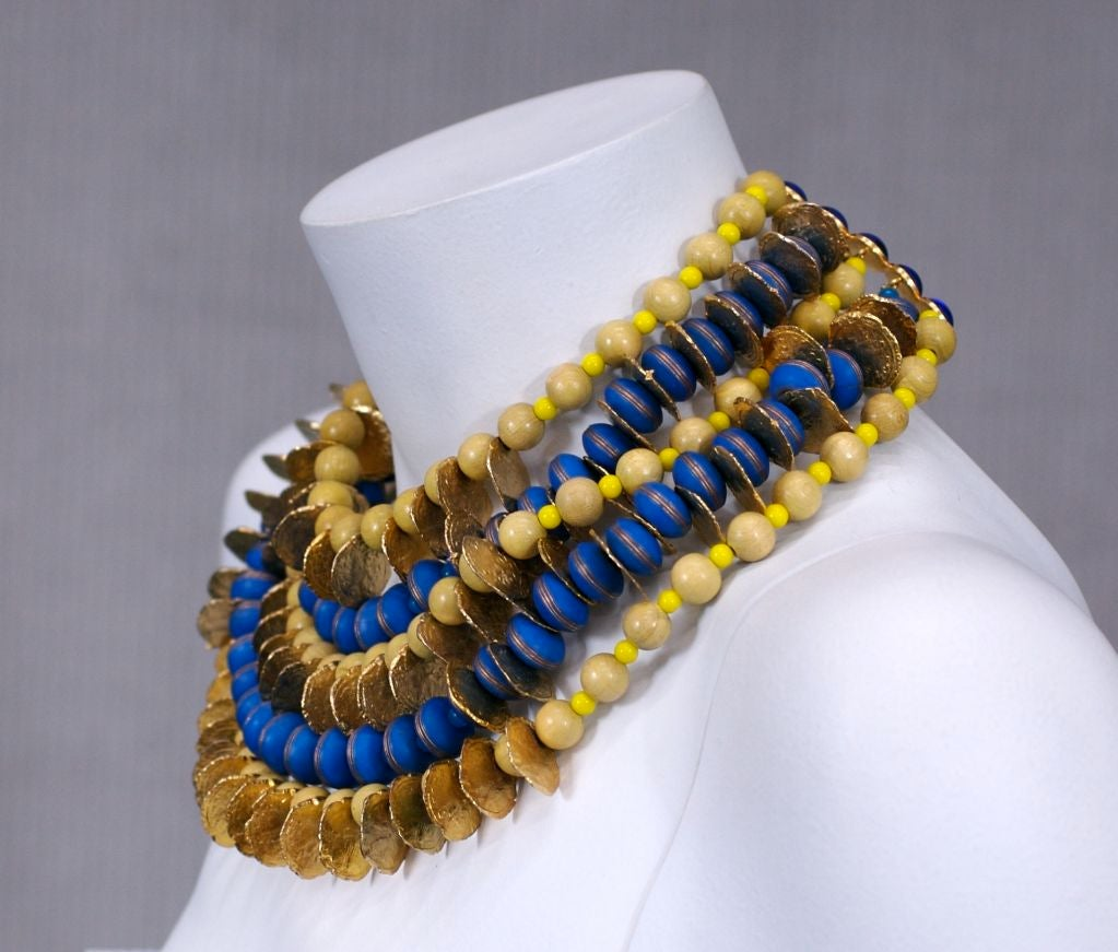 YSL African Style Gold Coin and Wood Bead Bib Necklace For Sale 4
