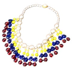 Important M. Haskell 1940's Multicolored  Gripoix Glass Fringed Bib Necklace