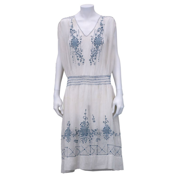 1920's Hungarian Smocked and Embroidered Day Dress