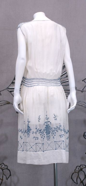 Women's 1920's Hungarian Smocked and Embroidered Day Dress