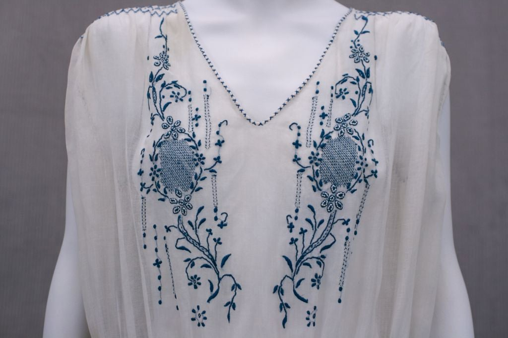 1920's Hungarian Smocked and Embroidered Day Dress 1
