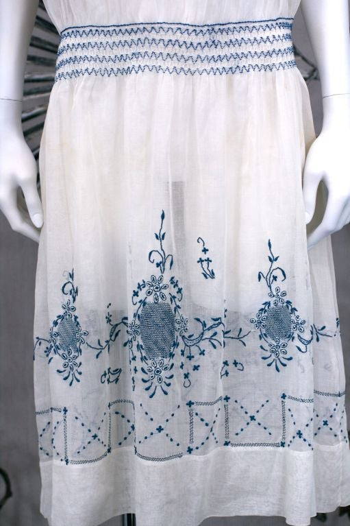 1920's Hungarian Smocked and Embroidered Day Dress 2