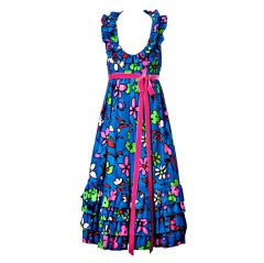 Donald Brooks Cotton Floral Summer Party Dress