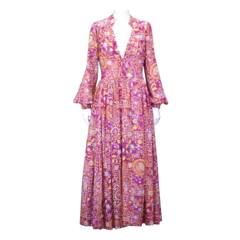 Traina Printed Silk Gauze Summer Evening Dress