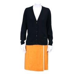 Courreges Rib Knit Black Logo Cardigan