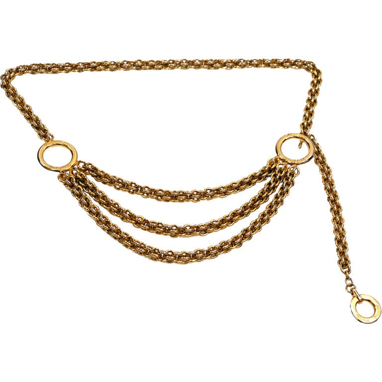 Paloma Picasso Gilt Chain Tier Belt For Sale