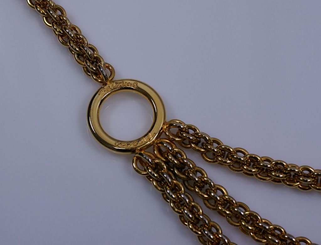 Paloma Picasso Gilt Chain Tier Belt In Excellent Condition For Sale In Riverdale, NY