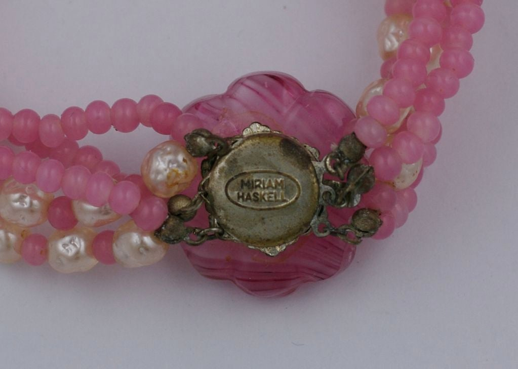 Miriam Haskell Pink and Pearl Torsade Necklace 3
