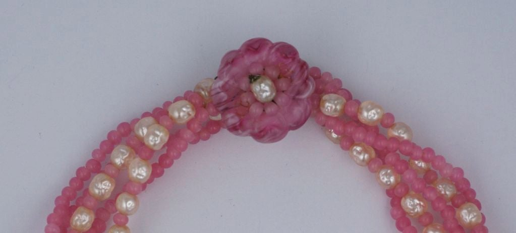 Miriam Haskell Pink and Pearl Torsade Necklace 2