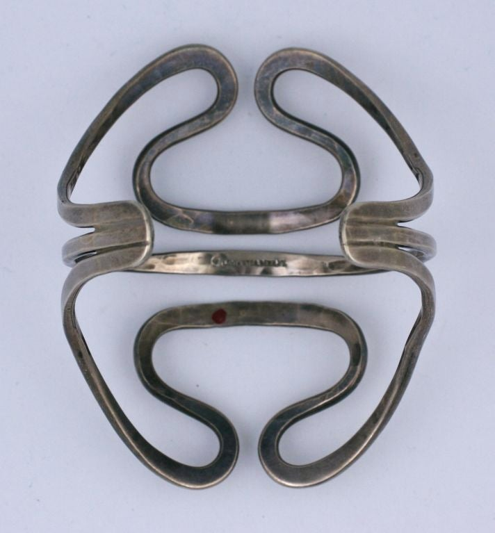 Ed Levin Modernist Sterling Cuff In Excellent Condition For Sale In Riverdale, NY