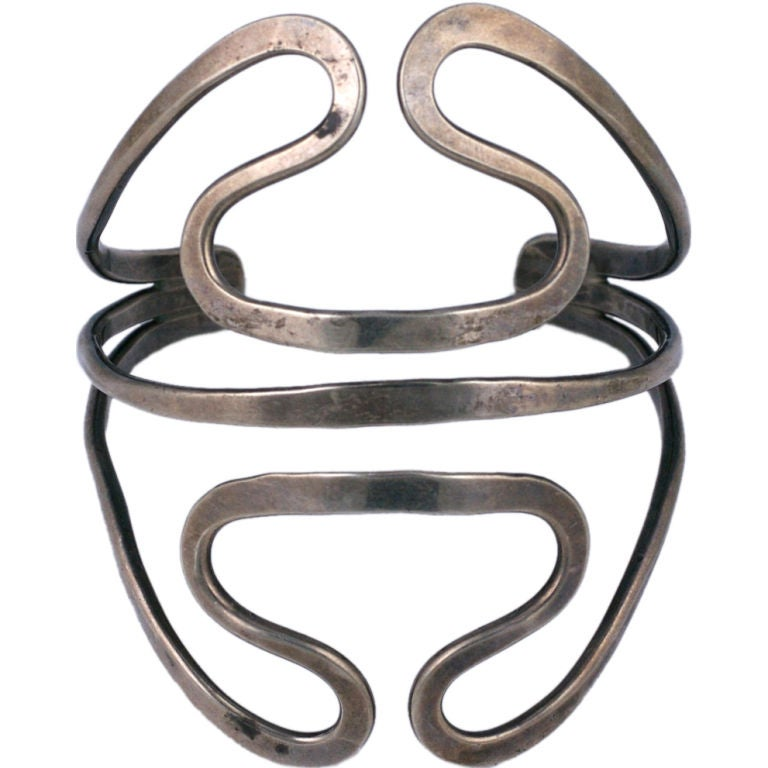 Ed Levin Modernist Sterling Cuff For Sale