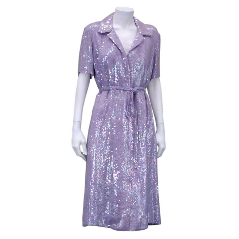 Halston Iconic Lilac Sequinned Shirtdress 2