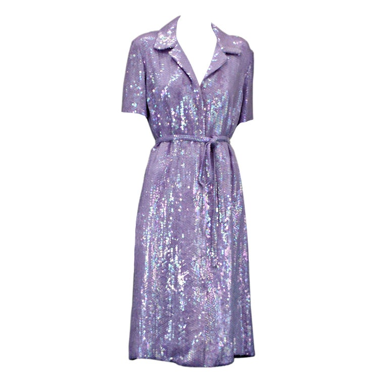 Halston Iconic Lilac Sequinned Shirtdress 1