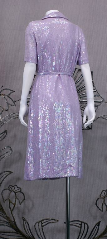 Halston Iconic Lilac Sequinned Shirtdress 4