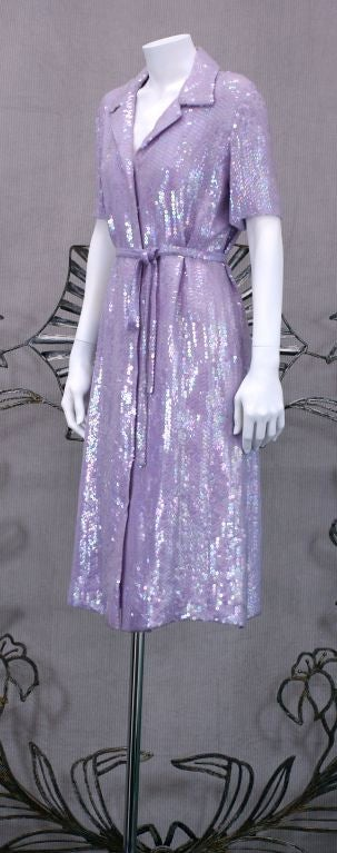 Halston Iconic Lilac Sequinned Shirtdress 3