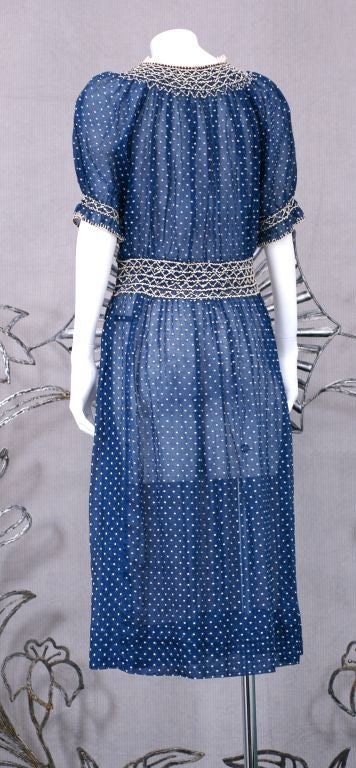 1920 U0026 39 S Hungarian Smocked And Embroidered Day Dress At 1stdibs