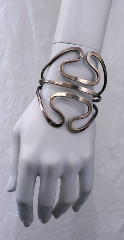 Women's Ed Levin Modernist Sterling Cuff For Sale