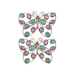 Pair of Massive Napier Butterfly Brooches