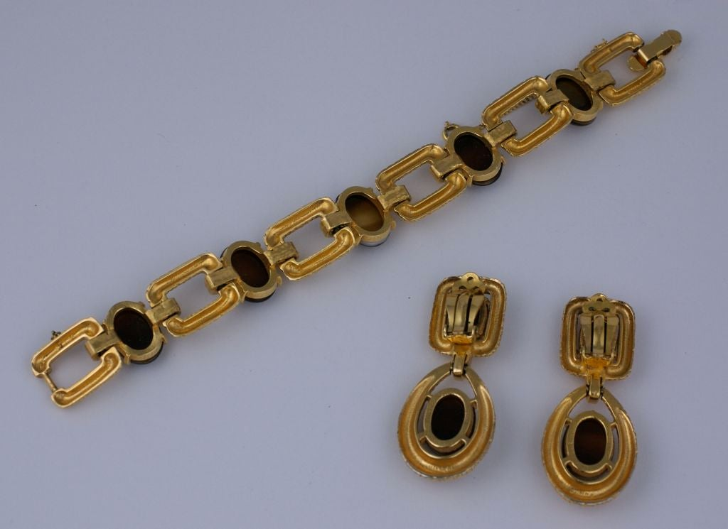 """Chunky bracelet and earring set by Joseph Mazer made with faux tortoise and textured gilt metal reminiscent of David Webb pieces of the period. 1960s.<br /> 8"""" bracelet, Width .75""""<br /> ear 2.25""""  width 1""""<br /> Excellent"""