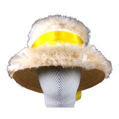 1950's Italian Raffia fringe Resort Hat