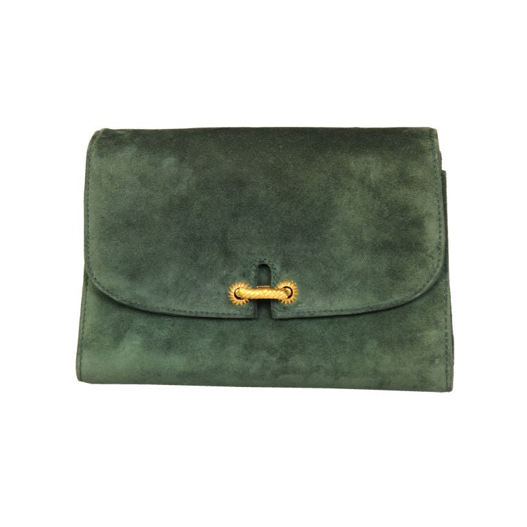 Gucci Green Suede Clutch