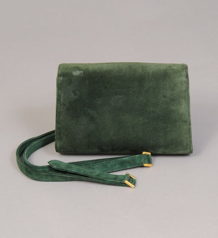 Gucci Green Suede Clutch image 3
