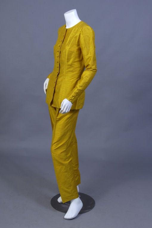 Pierre Balmain Haute Couture Chrome Yellow Silk Tunic & Pants 3